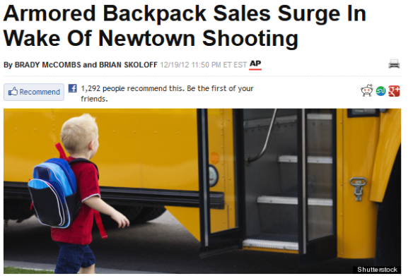 If you were a company producing armored backpacks for school children would you promote your product after a deadly shooting?