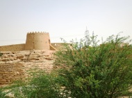 A view of one of Diriyah's old walls and watch tower from the Wadi Hanifah road