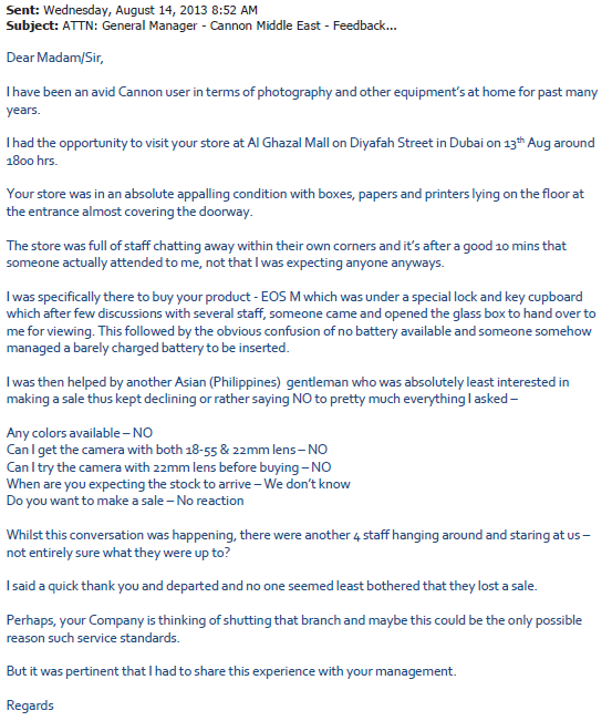 dubai customer service respond to the complaint a job  this is the complaint letter sent to canon customer service anyone