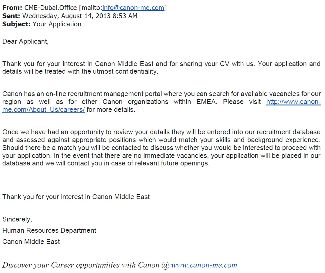 Dubai customer service 101 respond to the complaint with a job this is just hilarious i can only hope this is an auto reply spiritdancerdesigns Images