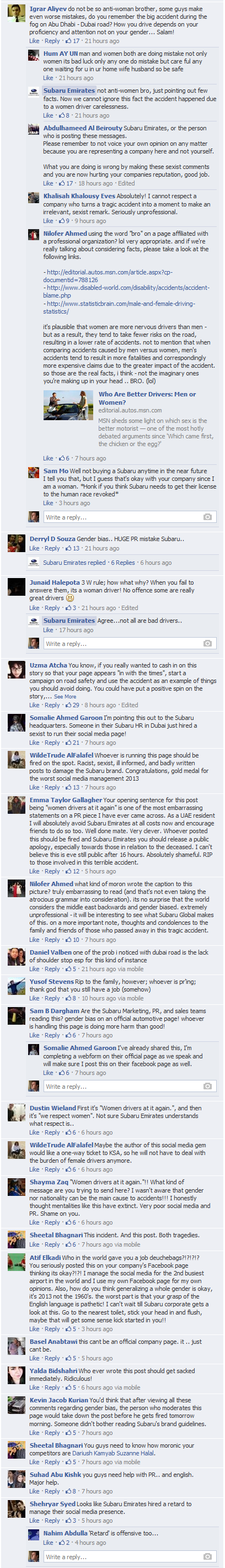 This is the first comments screen shot. Note the defensive post by Subaru Emirates and the anger of the responses.
