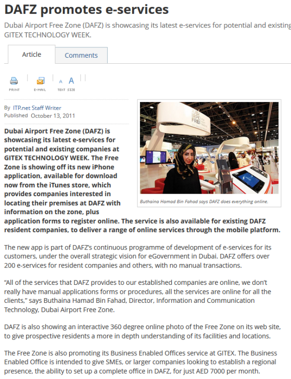 DAFZA launches its first mobile application news, from GITEX 2011