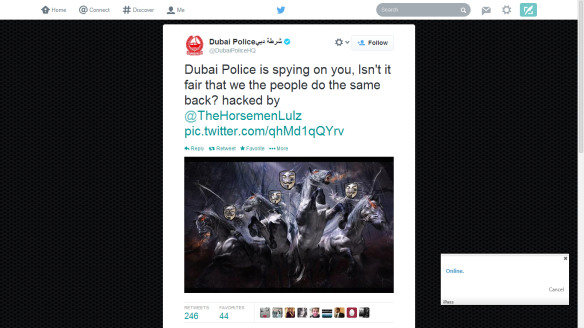 A screen shot of the image sent out by the hackers via the @DubaiPoliceHQ Twitter account