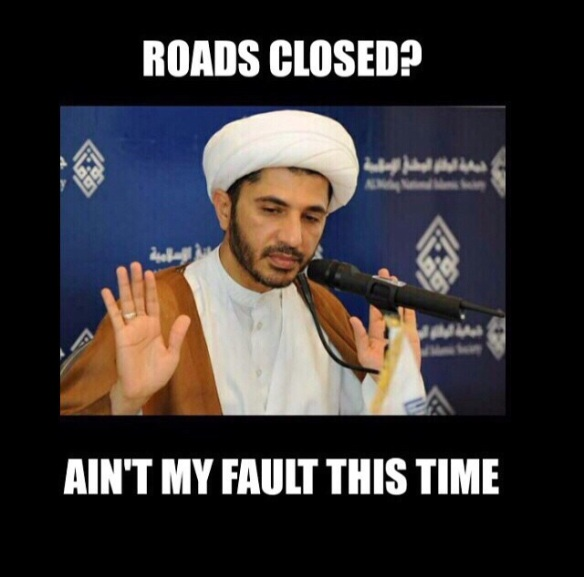 A meme of AlWefaq's leader and #ChallengeBahrain