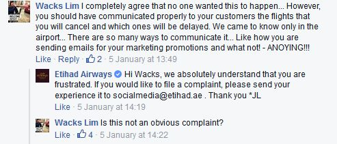 This is one example of many of the discussions that took place on Facebook between Etihad and its customers following the fog