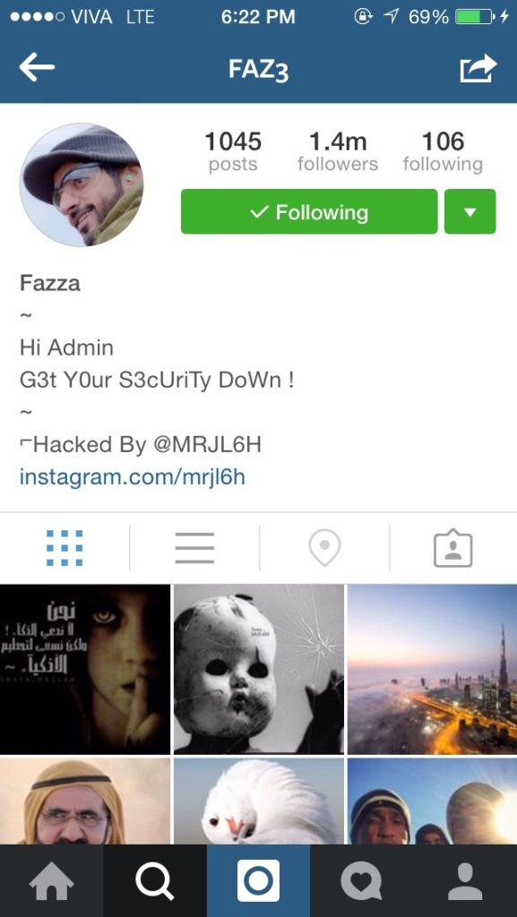 Sheikh Hamdan Bin Mohamed's instagram account was hacked for only a short period but the hacker posted a number of images