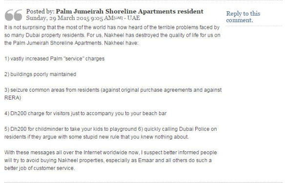 A comment from a not-very-happy Nakheel property resident on the Palm