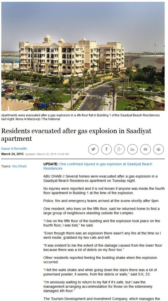 The National's first story on the Saadiyat gas blast was quick to print but important details were wrong