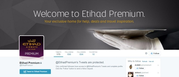 Etihad's Premium Twitter account is an exclusive account just for Etihad's Gold customers. Is Twitter the right channel for reaching out to premium customers however?