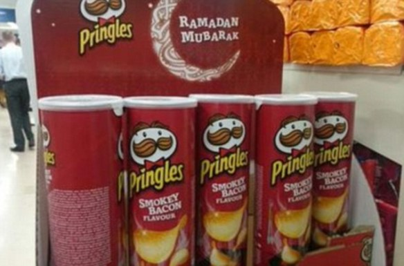 Tesco has been pilloried on social media for selling smokey bacon-flavoured Pringles as part of a Ramadan promotion