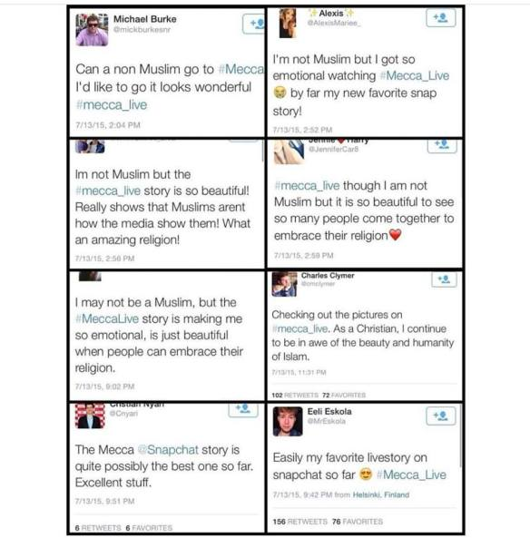 A sample of tweets around the #Mecca_Live hashtag