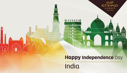 Etihad's Happy Independence Day message to India... It's a shame Etihad forgot to do the same for Pakistan the day before.