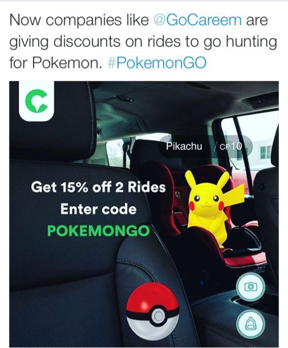 The UAE-headquartered cab hailing service Careem has leveraged Pokemon Go to promote its service and give gamers a discount
