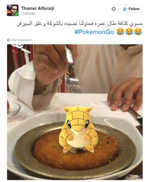 It's enough to put you off your dessert! A Pokemon on top of a plate of Kunafe (image thanks to Samer Batter).